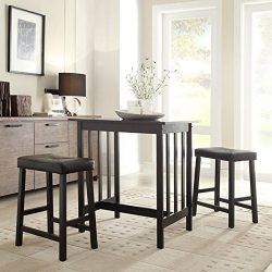 3 Piece Bistro Kitchen Dining Table and Chairs Set Black Upholstered Fabric Wood Bar Stools Isla ...