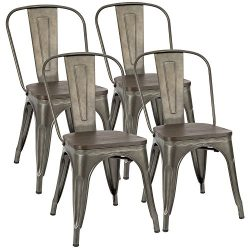 Furmax Metal Dining Chair With Wood Seat,Indoor-Outdoor Use Stackable Chic Dining Bistro Cafe Si ...