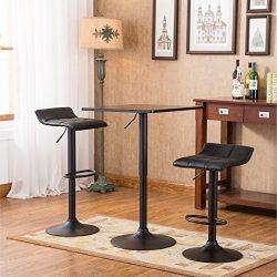 Roundhill Furniture Belham Black Square Top Adjustable Height with Black Leg And Base Metal Bar  ...