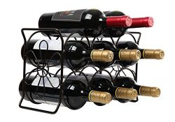 Finnhomy 6 Bottle Wine Rack with Flower Pattern, Wine Bottle Holder Free Standing Wine Storage R ...