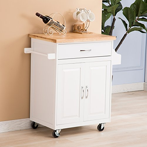 Kitchen Island Storage Cabinet Wood Top Cupboard Portable: Mecor Portable Kitchen Rolling Island Cart Trolley Storage
