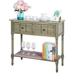 Harper&Bright Designs WF039593EAA Console Table Sideboard Traditional Design with Two Drawer ...
