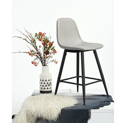 Set of 2 Mid-Century Style Counter Height Barstool Metal Legs Grey Fabric Cushion Seat and Back  ...