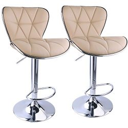 Leopard Shell Back Adjustable Swivel Bar Stools, PU Leather Padded with Back,Set of 2,Khaki