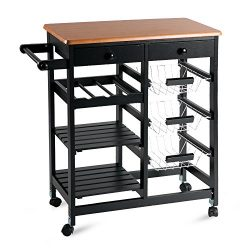 Merax WF036471BAA 26″ Portable Storage Island Kitchen Trolley Drawers, Microwave Cart, Black