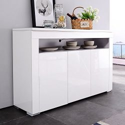 Mecor LED Light Adjustable Color Sideboard Buffet Storage White Kitchen Dining Room (3 door & ...