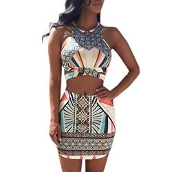 Kanzd Fashion Women Printing Buttocks Camisole Tighten Mini Skirt Two Piece Set (XL, Multicolor)