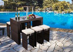 Do4U 7 PCS Rattan Wicker Bar Table Stool Dining Set Patio Garden Outdoor Furniture (Mixed-9011)