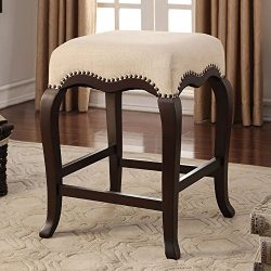 Acme Furniture ACME Kakabel Cream Fabric Counter Height Stool 1 Piece