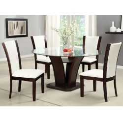 247SHOPATHOME IDF-3710RT-WH-5PC-SET Dining-Room-Sets, White