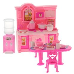 Homyl Plastic Kitchen Cooking Set Table Chair Dollhouse Accessories For Barbie Dolls Ding Room F ...