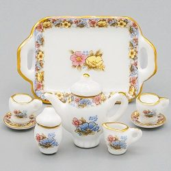 Odoria 1:12 Miniature 8PCS Porcelain Chintz Tea Cup Set Dollhouse Kitchen Accessories