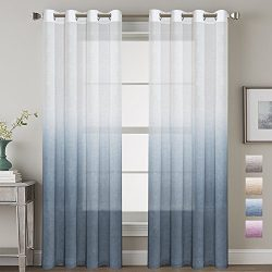 H.VERSAILTEX 52 – Inch Width by 84 – Inch Length Linen Mixed Curtains Semi Sheers fo ...