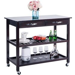 Harper&Bright Designs 039311 Kitchen Dining Trolley Cart Storage Drawers and Shelves (Espresso)