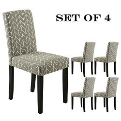LSSBOUGHT Set of 2 Urban Style Fabric Dining Chairs With Solid Wood Legs (Arrow Set of 4)