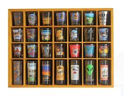 28 Shot Glass Shooter Display Case Holder Cabinet Rack, solid wood, NO Door, (Oak Finish)