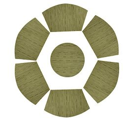 PAUWER Round Table Placemats Set of 7 Wedge Placemats and Centerpiece for Kitchen Table Heat Ins ...