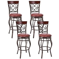 COSTWAY Vintage Bar Stools Swivel Comfortable Leather Padded Seat Back Bistro Dining Kitchen Pub ...