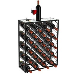 Smartxchoices 32 Bottle Black Steel Wine Rack with Finished Thick Glass Table Top Solid Wrought  ...
