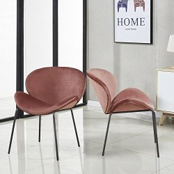 GreenForest Dining Chairs Modern Large Velvet Fabric Shell Chairs for Kitchen Living Room Leisur ...