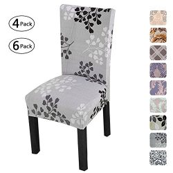 Fuloon Universal Stretch Short Removable Dining Chair Seat Covers Slipcovers Wedding Party (6 Pe ...