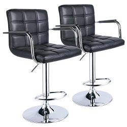 Leopard Square Back Adjustable Bar Stools with armrest,Swivel Bar Stool Set of 2, Black