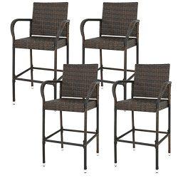 Nova Microdermabrasion Patio Outdoor Wicker Bar Stool Backyard Rattan Chair Furniture Chair Set  ...