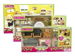Maven Gifts: Calico Critters Deluxe Bathroom Set, Kozy Kitchen Set, and Deluxe Living Room Set – ...