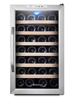 Kalamera Wine Cooler 28 Bottle S.S door and curved handle, wood shelves, digital control …