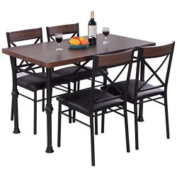 Giantex 5 Piece Modern Dining Set Table And 4 Chairs Wood Metal Rectangular with Full Padded Sea ...