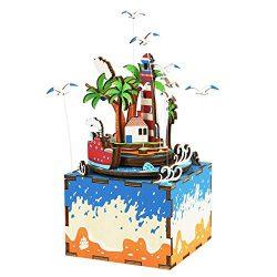 Rolife Wooden Hand Crank Music Box Machinarium -Diy Wood Craft Kit-3d Wooden Puzzle-Creative Gif ...