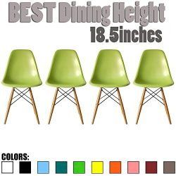 2xhome Set of 4 Green Mid Country Modern Molded Shell Designer Assemble Plastic Chair Side No Ar ...