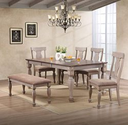 Kings Brand Almon 2-Tone Brown Wood 6-Piece Dining Room Set, Table, Bench & 4 Chairs