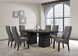 Kings Brand Cappuccino Finish Wood Wave Design Dining Room Kitchen Table & Chairs (Table &am ...
