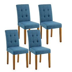 LSSPAID Classic Fabric Parson Dining Chairs with Solid Wood Legs,set of 4(Blue)