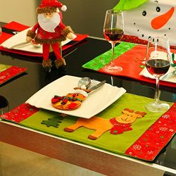 Christmas Placemats, Zubita Knife Fork Placemat Christmas Wapiti Snowflake Table Mat Christmas H ...