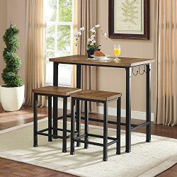 Linon Home Decor Products Pub Table Bar Set 2 Stools Chairs 3 Piece Kitchen Breakfast Nook Dinin ...