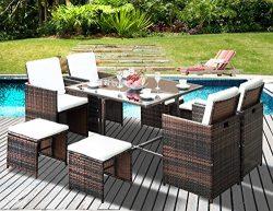 Leisure Zone Outdoor Rattan Wicker Patio Dining Table Set Garden Outdoor Patio Furniture Sets (9 ...