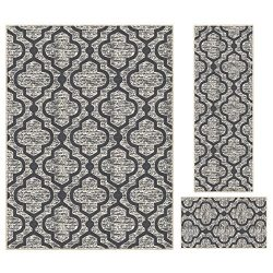 Kapaqua Rubber Backed 3-Piece Area Rug Set SILVER GREY Moroccan Trellis Non-Slip Kitchen Living  ...