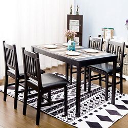 Harper&Bright Designs 5 Piece Wood Dining Table Set 4 Person Home Kitchen Table and Chairs ( ...