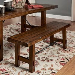 Dining Bench, Rustic Oak, Details Like a Worn, Rfinish and Dark Metal Accents Create an Antique, ...
