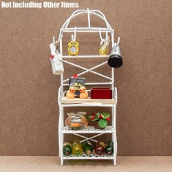 Odoria 1:12 Miniature Metal Wine Rack White Storage Shelf Dollhouse Furniture Accessories