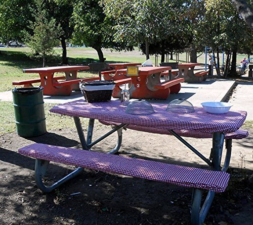 Custom Stay Put Fitted Tablecloth Table Cover for a Picnic, RV or Camping Table 3 Piece, Table a ...
