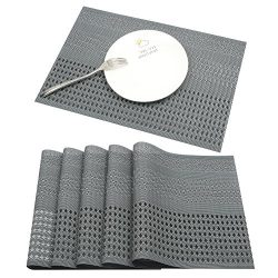 Famibay Stain Resistant Placemats PVC Non-slip Place Mats Durable Double-faced Crossweave Woven  ...