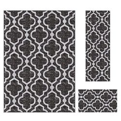 Kapaqua Rubber Backed 3-Piece Area Rug Set ANTHRACITE BLACK Moroccan Trellis Non-Slip Kitchen Li ...