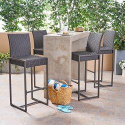 Great Deal Furniture Kelly Outdoor Wicker 30 Inch Barstool (Set of 4), Dark Brown