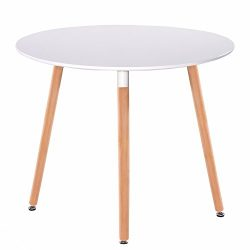 GreenForest Dining Table White Modern Round Table with Wood Legs for Kitchen Living Room Leisure ...