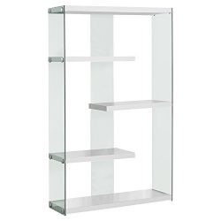 Monarch Specialties I 3290 Glossy White with Tempered Glass Bookcase, 60″