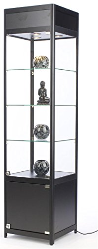 "72"" Tall Glass Display Cabinet with 3 Adjustable Tempered Glass Shelves and 3 Halogen Top Lights"