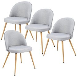 Giantex Set of 4 Accent Arm Chair For Living Room Fabric Cushion Seat Metal Leg Dining Chair (Gray)